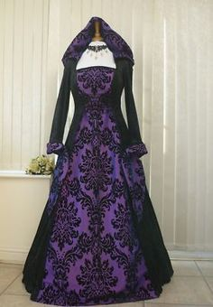 Gothic Whitby Medieval wedding dress hooded renaissance Pagan Handfasting Wiccan