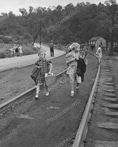 Girls Going Home From School Train Tracks 1938 Vintage 8x10 Reprint Of Old Photo