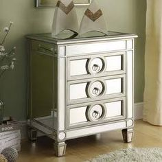 mirror bedside table - Monarch Specialties I-3701 Mirrored 3 Drawer Accent Table, Mirror