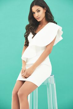 Exaggerated One Shoulder Frill Scuba Mini Dress in White Scuba Fabric, Strappy Heels, No Frills, Peplum Dress, Fashion Inspiration, One Shoulder, White Dress, Romance, Feminine