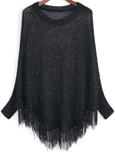 Shop Black Open-Knit Sequined Tassel Sweater online. SheIn offers Black Open-Knit Sequined Tassel Sweater & more to fit your fashionable needs.