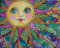 Midnight in My Psychedelic Garden, Singleton Hippie art Original via Etsy Hippie Love, Hippie Art, Good Day Sunshine, Sun Art, Sun And Stars, Moon Design, Psychedelic Art, Doodle Art, Peace And Love