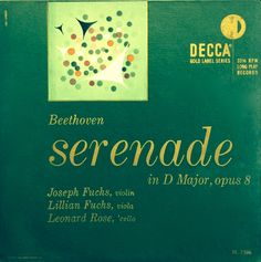 Fuchs, Fuchs, Rose- Beethoven: Serenade in D. Label: Decca DL 7506 (1951). Design: Erik Nitsche.