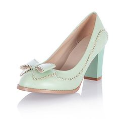 Leatherette Women's Chunky Heel Heels Pumps/Heels Shoes with Bowknot(More Colors)