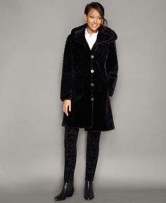 b48d2102db3 The Fur Vault Hooded Sheared Beaver Fur Coat Red Fur