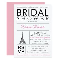 Eiffel Tower Pink Paris Bridal Shower Invitation - wedding invitations cards custom invitation card design marriage party