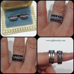 More new-old-stock! These little bits of perfection are c1940 14k white gold, diamonds & lab sapphires. $995. #giltjewelry #vintage #sapphire #retro #nos #wedding #engagement #pristine
