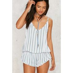 Mulholland Ruffle Romper ($68) ❤ liked on Polyvore featuring jumpsuits, rompers, stripe, striped romper, ruffle rompers, striped rompers, flounce romper and stripe romper