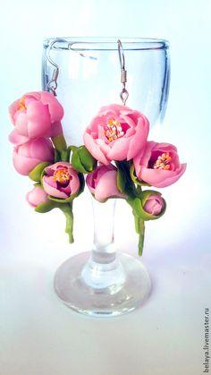 Серьги с миниатюрными пионами. Керамическая флористика. В наличии! - розовый