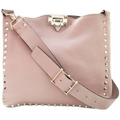 Preowned Valentino Blush Leather Rockstud Small Hobo Messenger Bag... ($1,500) ❤ liked on Polyvore featuring bags, messenger bags, beige, zip messenger bag, pink bag, valentino bag, zipper bag and leather bags