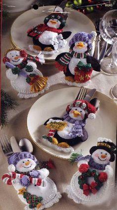 Bucilla Snowman Penguin Silverware Holder Felt Kit - Click Image to Close Beaded Christmas Ornaments, Felt Ornaments, Christmas Snowman, Christmas Holidays, Felt Decorations, Christmas Table Decorations, Felt Crafts, Christmas Crafts, Silverware Holder