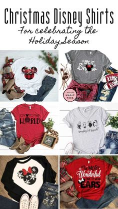 Tis the season to be merry with these fabulous Christmas Disney shirt ideas for your Holiday season vacation! Or just while you re out doing the Christmas shopping! Disney World Christmas Shirts, Disney Shirts For Family, Family Shirts, Disney Family, Cute Christmas Shirts, Xmas Shirts, Couple Shirts, Disney Diy, Disney Ideas