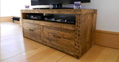 Wooden TV stand- lighter stain for our living room