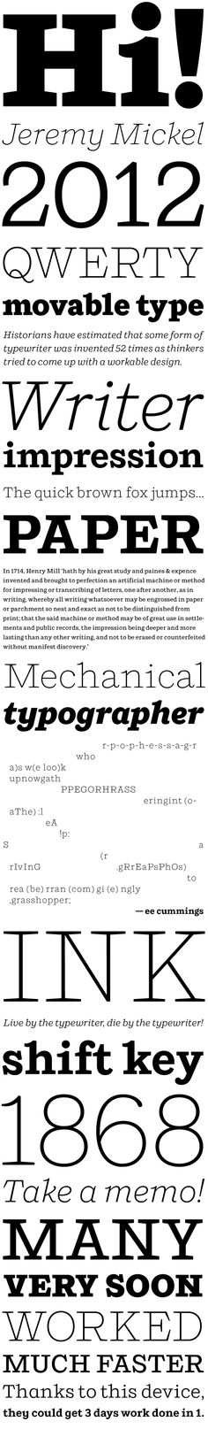 Shift. Nice typewriter-inspired typeface from Village with a beautiful italic.