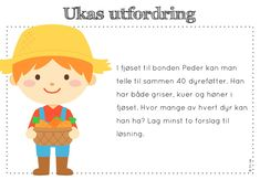 ukas utfordring Daily Challenges, Brain Teasers, Word Problems, Early Learning, Kids Education, Teacher, School, Maths, Children