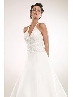 Belle Robe de mariée en Satin avec col en V ornée de perles et de Broderies