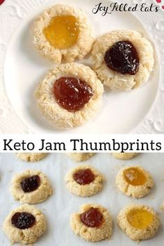Low Carb Jam Thumbprint Cookies - Keto Egg Gluten Sugar & Grain Free, THM S - Jam Thumbprint Cookies are a holiday classic I don't think I've ever been to a cookie exchange where someone didn't make these. They are very easy to make, pretty, and tasty. Keto Friendly Desserts, Low Carb Desserts, Low Carb Recipes, Dessert Recipes, Protein Desserts, Healthy Deserts, Cupcake Recipes, Dessert Ideas, Free Recipes
