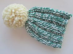 Green and White Knit Hat, Women's Knit Hat, Winter Hat, Pom Pom Hat, Hand Knit Hat, Knit Hat, Chunky Knit Hat, Custom Knit Hat by UpNorthKnits on Etsy https://www.etsy.com/listing/270953401/green-and-white-knit-hat-womens-knit-hat