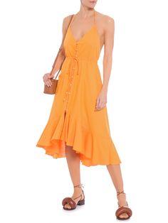 Vestidos High Low, Pattern Fashion, Ideias Fashion, Wrap Dress, That Look, Dresses, Yellow Midi Dress, Fashion Patterns, Blue Stripes