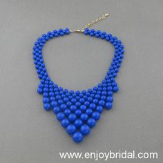 Navy Blue Bubble Necklace,Holiday Party,Bridesmaid Gifts,Beaded Jewelry,Wedding Necklace,Turquoise Color Necklace$16.00