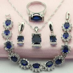 Good Deal $13.63, Buy WPAITKY Trendy Blue Created Shappire 925 Sterling Silver Jewelry Set For Women Necklace Earrings Bracelet Ring Free Jewellry Box