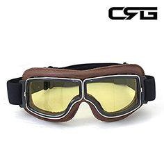 46b544683c0 CRG Sports Vintage Aviator Pilot Style Motorcycle Cruiser Scooter Goggle  T13 T13BCB - Parent (Yellow