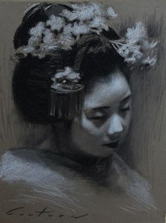 """""""Kanoemi"""" - charcoal drawing on toned paper - By Phil Couture"""