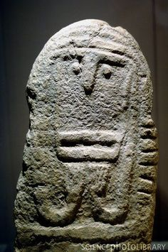 Neolithic stele. This ornate carved stone slab dates from around 2500BC and was found in Montagnac, France.