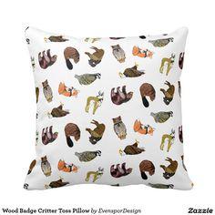 Shop Wood Badge Critter Toss Pillow created by EvensporDesign. Wood Badge, Toss Pillows, Custom Pillows, Make It Yourself, Knitting, Fabric, Color, Design, Throw Pillows