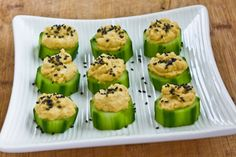 Kalyn's Kitchen®: Recipe for Hummus and Cucumber Appetizer Bites with Sesame Seeds  [#SouthBeachDiet friendly from Kalyn's Kitchen]