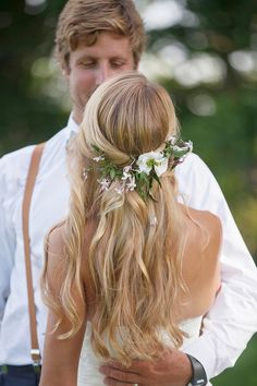 Girls in White Dresses, Minus the Blue Satin Sashes #wildflowers Summer Wedding Hair with loose waves and wild flowers