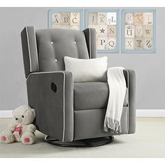 Dorel Living Baby Relax Mikayla Upholstered Swivel Gliding Recliner, Gray The Baby Relax Mikayla Swivel Gliding Recliner features so many comfort features that Glider Recliner Chair, Glider And Ottoman, Swivel Glider, Nursery Rocker Recliner, Baby Glider, Loveseat Sofa, Swivel Chair, Chair Cushions, Couches