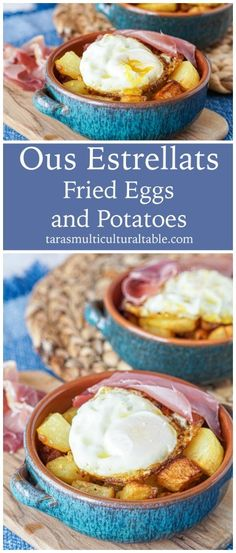 A recipe for Ous Estrellats (Huevos Estrellados, Fried Eggs and Potatoes) from the cookbook, Barcelona Cult Recipes written by Stephan Mitsch. Make Ahead Breakfast, Breakfast For Dinner, Breakfast Recipes, Cookbook Recipes, Egg Recipes, Chorizo, Yummy Snacks, Yummy Food, Tapas Dishes