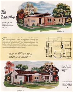1952 National Plan Service - Branton from Mid Century Home Style. 3 Bed, 1 Bath