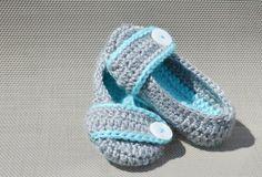 Crocheted Toddler Slippers Light Grey Aqua by HalesBeeHandmade