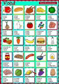 Food - multiple choice Language: English Grade/level: elementary School subject: English as a Second Language (ESL) Main content: Food Other contents: Esl Resources, English Resources, English Lessons, English Exam, English Teaching Materials, Teaching English, Food Vocabulary, Reading Test, School Worksheets
