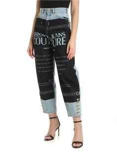 Versace Jeans Couture Maxi Black Logo Print Jeans In Light Blue Versace Jeans Couture, Colored Jeans, Couture Fashion, World Of Fashion, Light Blue, Pajama Pants, Logo, Clothes For Women, Model