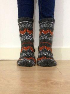 Hand Knit Wool Socks Fox Foxy Socks Grey Orange by FirTreeKnitwear
