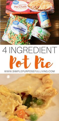 Easy pot pie recipe with just 4 ingredients. Chicken pot pie or turkey pot pie p. - Easy pot pie recipe with just 4 ingredients. Chicken pot pie or turkey pot pie p. Easy pot pie recipe with just 4 ingredients. Chicken pot pie or tu. Crock Pot Recipes, Easy Pie Recipes, Fall Recipes, Healthy Recipes, Greek Recipes, Recipes Dinner, Quick Chicken Pot Pie Recipe, Chicken Pot Pies, Dinner Ideas