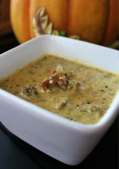 Low Carb Pumpkin Sausage Soup from Food.com:   					#ultimatethanksgiving  			    I chose this low carb pumpkin sausage soup because it sounds warming and lovely to have in a smaller soup cup with dinner or before dinner. Or, maybe better later after the big meal.