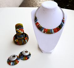 Yellow And Green Africanprints  Fabric Jewelry Gift Set, African Earring, Nec – Zabba Designs