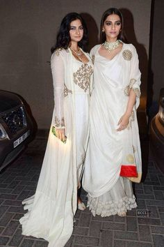 The Kapoor sisters wore Anamika Khanna to the wedding and sangeet. The sangeet look was way way better than the wedding outfits! Pernia Qureshi is wearing Gauri and Nainika here!