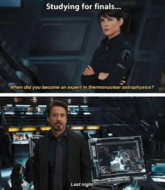 Studying for finals Exam, Funny, Iron Man, Movie, Robert Downey Jr., Student, Study