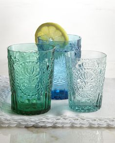 """""""Fleur-de-Lis"""" Glassware I would love to have this glassware! All I have right now is a mixed up set of glasses, some are plastic some are glass.. It would be so nice to have a matching set for 8."""