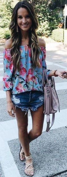 #summer #american #style | Floral Bardot Top + Cutoffs