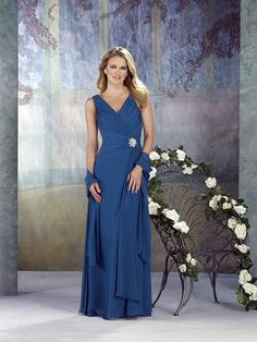 Amazing V-neck Blue Chiffon Floor Length Straps Mother of Bride Dresses In Canada Mother of Bride Dress Prices
