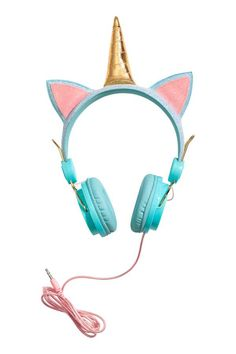 Turquoise/unicorn. On-ear headphones in plastic and metal with a corded cable. Glittery headband with decorative appliqués. Fits mobile phones with a 3.5 mm