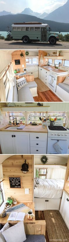 One of our favorite parts on the bus is their fully functional kitchen - Bull .,One of our favorite parts on the bus is their fully functional kitchen - Bulli - -. School Bus Conversion, Camper Van Conversion Diy, Bus Living, Tiny House Living, School Bus Tiny House, Kombi Home, Van Home, Bus Life, Remodeled Campers