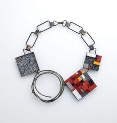 Space 3_ necklace_ brass, sand, paper, black C_ 220X220X15mm_ 2012