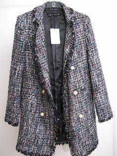 NWT ZARA Tweed Jacket with Faux pearl Button Blazer  Size XS Ref.7772/603 #ZARA #OtherJacket #Casual Zara Jackets, Blazer Buttons, Tweed Jacket, Pearls, Casual, Sweaters, Image, Fashion, Moda